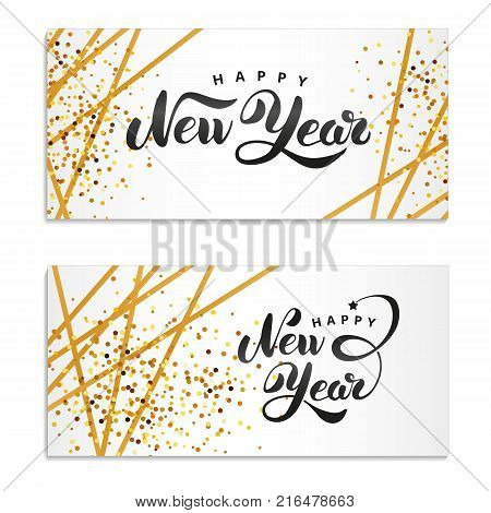 Happy New Year gold glitter. Gold sparkles Print logotype, 2018 party, congratulation, greeting card, Golden decorations for happy new year, Merry Christmas. Happy New Year event