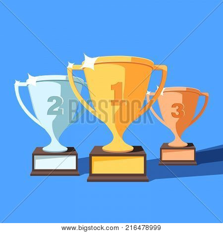 Trophy cup flat vector set. Award winners cup for the first second and third place.