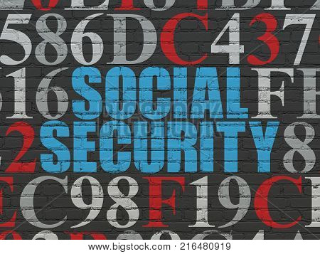 Safety concept: Painted blue text Social Security on Black Brick wall background with Hexadecimal Code