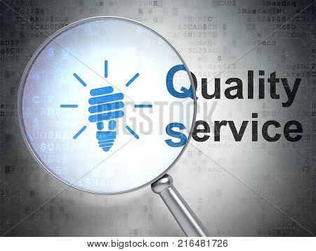 Finance concept: magnifying optical glass with Energy Saving Lamp icon and Quality Service word on digital background, 3D rendering