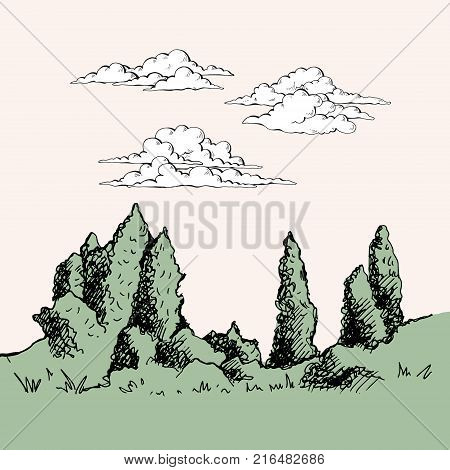 The nature of Kyrgyzstan. Cumulus clouds in the sky. Poplar, fir-grove in the foreground, beautiful nature. Vector, hand drawing illustration