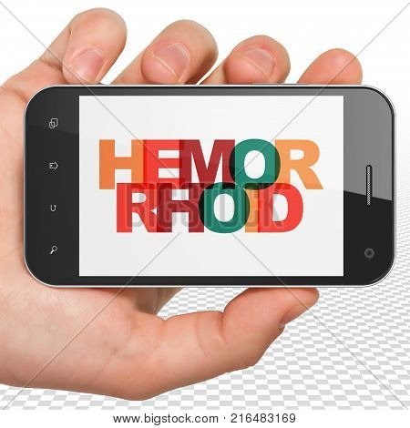 Medicine concept: Hand Holding Smartphone with Painted multicolor text Hemorrhoid on display, 3D rendering
