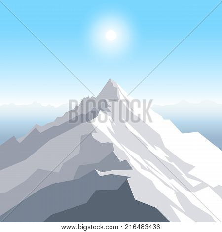 A midday sun over the mountains. Landscape with peak. Mountaineering and traveling and outdoor recreation concept. Abstract background for web, presentations or prints. Vector illustration