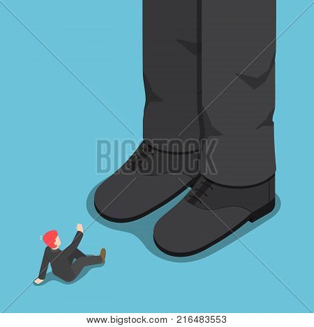 Flat 3D Isometric Tiny Businessman In Front Of Giant Leg.