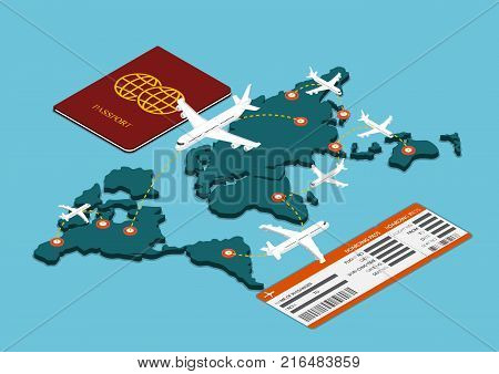 Flat 3d isometric air travel transportation with passport and boarding pass.