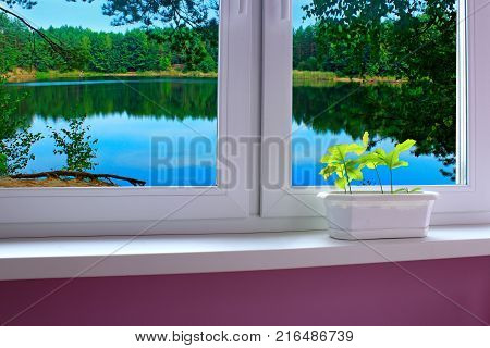 window of a cozy room overlooking the forest lake