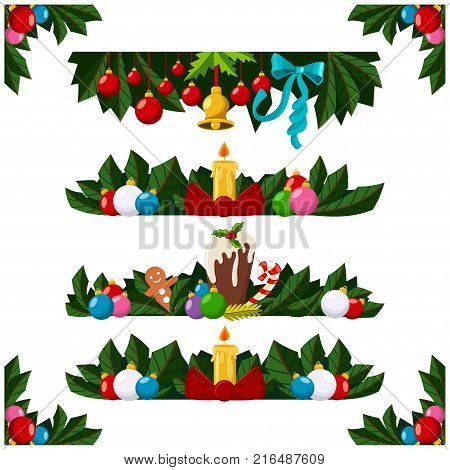 Christmas decoration border frame or garland with xmas tree branch balls candle pudding and holly berry. Vector cartoon set illustration isolated on a white background.