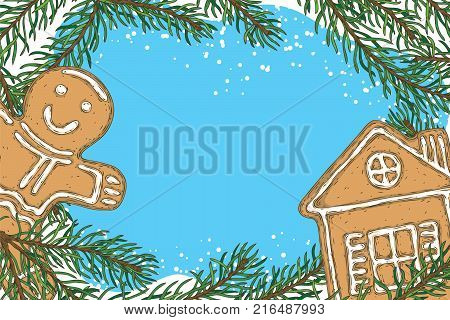 Christmas Frame with Fir Branch, Gingerbread House, and Gingerbread Man