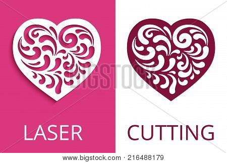 Cutout paper heart silhouette for Valentine's Day, decorative floral element, curly vector pattern for laser cutting or wood carving elegant stencil swirls design