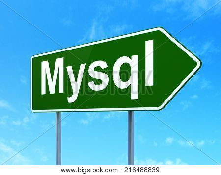 Programming concept: MySQL on green road highway sign, clear blue sky background, 3D rendering