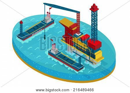 Isometric oil extraction in sea concept with water platform and  ships for petroleum transportation isolated vector illustration