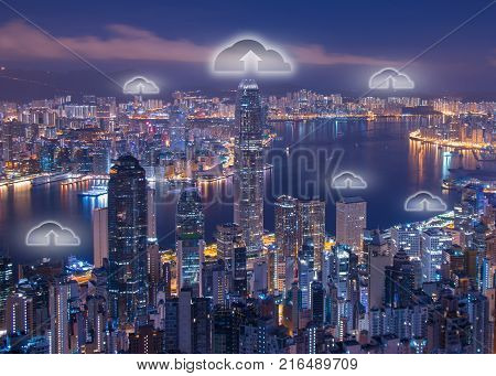 Night cityscape and internet network connection cloud technology for communication ,Business and technology concept