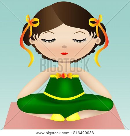 Female yoga. A girl in a green suit is sitting in a lotus pose. Vector illustration of a woman practicing yoga.