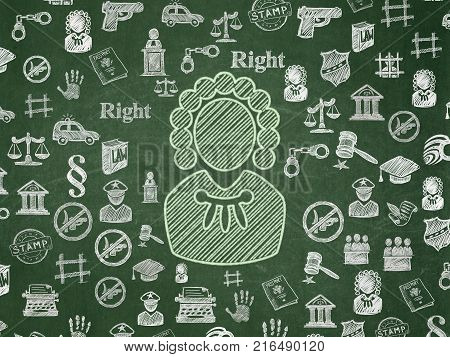 Law concept: Chalk Green Judge icon on School board background with  Hand Drawn Law Icons, School Board
