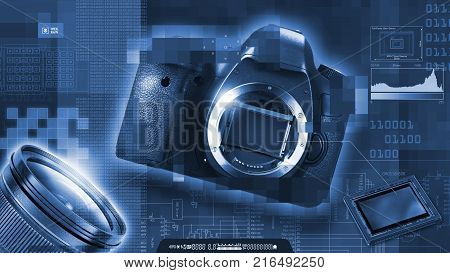 Monochrome composition on digital photography. Reflex camera, sensor, lens and pixels. In collage are a reflex camera, sensor, lens, pixels, binary numbers, histogram, sensor formats, etc.