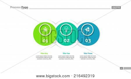 Process diagram with three elements. Venn chart, graph, layout. Creative concept for infographics, presentation, project, report. Can be used for topics like business, strategy, development