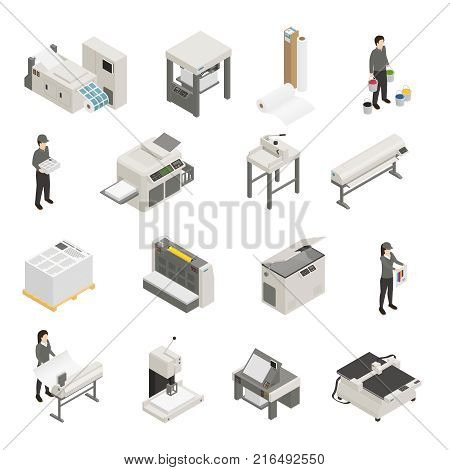 Printing house equipment and personnel isometric icons collection with inkjet laser screen offset printers isolated vector illustration