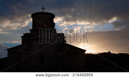 Silhouette view of Saint John Church at Kaneo situated in unesco listed Macedonian town Ohrid.