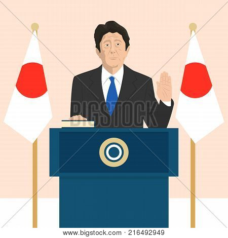 02.12.2017 Editorial illustration of the Prime Minister of Japan Shinzo Abe