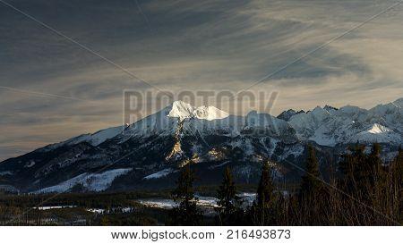 Winter scene of Tatra Mountains in Lesser Poland