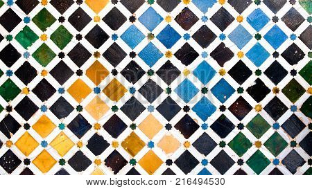 Tiled wall in Nasrid Palace,Alhambra, Granada, Andalucia, Spain