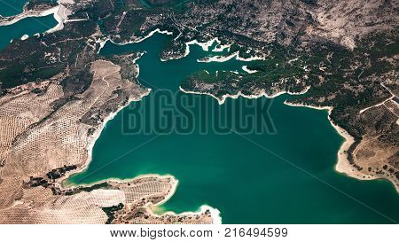 Aerial view of Embalses Guadalhorce-Guadalteba near Malaga, Andalusia, Spain.