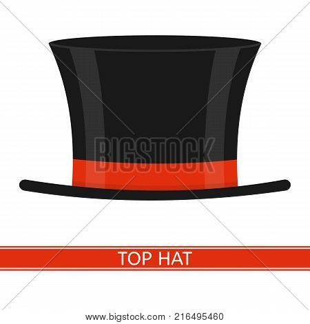 Vector illustration of elegant top hat isolated on white background. Black cylinder with red ribbon in flat style.