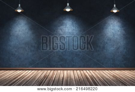 3d rendering illustration of big modern room with blue plaster wall wooden floor and plinth. Interior with three hanging spotlight copper lamps. Studio showroom photo studio stage.