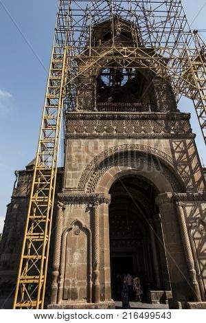 Repair of the tower of the oldest cathedral in the world Etchmiadzin cathedral in Armenia in September 2017.