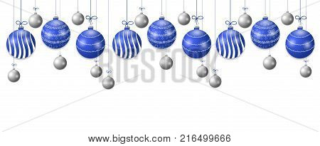 Set hanging blue and silver Christmas balls. Decorative baubles elements isolated on white background for holiday design. Vector illustration.