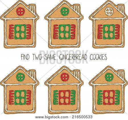 Christmas Game for Children. Find the Same Pictures. Gingerbread House Cookies