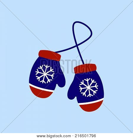 Vector illustration pair of knitted christmas mittens on light blue background. Mitten icon. Christmas greeting card with mittens Eps 10