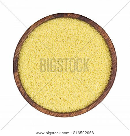 Couscous in wooden bowl isolated on white background, top view. One of the collection