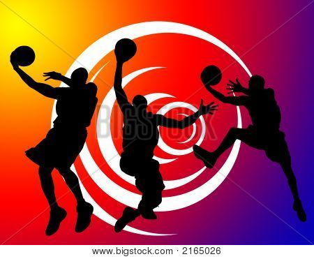 Basketball players sport background whit players from NBA poster