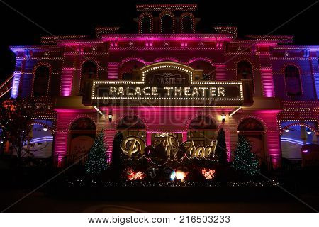 PIGEON FORGE, TENNESEE- NOVEMBER 15,2017: Dollywood Palace theater, Home of Dollywood Theme park.