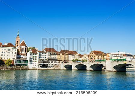 Panoramic view of Basel with Middle - Bridge Mittlere Bruecke at sunny day