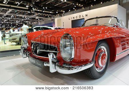 DUBAI UAE - NOVEMBER 18: The restorated by Brabus Mercedes-Benz 300SL Roadster car is on Dubai Motor Show 2017 on November 18 2017