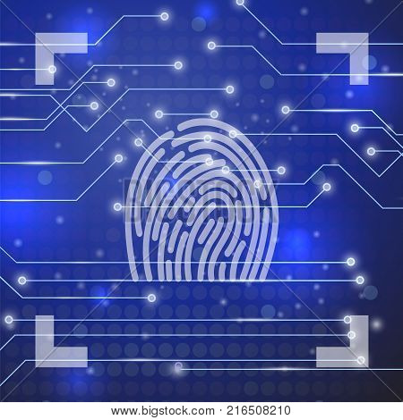 Fingerprint on Blue Technological Blurred Background. Finger Print Integrated in a Printed Circuit
