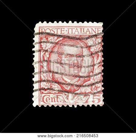 ITALY - CIRCA 1901 : Cancelled postage stamp printed by Italy, that shows portrait of king Victor Emanuel.