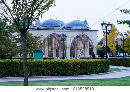 a view of the beautiful unusual mosque, around a lot of greenery and lanterns