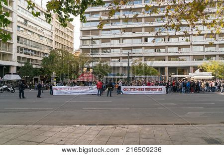 Athens, Greece - November 15, 2017: peaceful protest of aviation industry workers associations near the Sintagmatos Square and the Greek Parliament