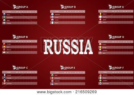 Russia 2018 championship. Vector flags and groups. World football championship. Soccer tournament. All groups with illustrated round flags. Convenient tables for recording match results and scoring