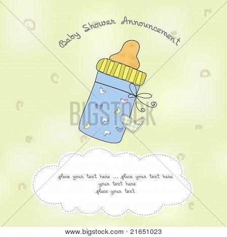 baby shower card with bottle milk