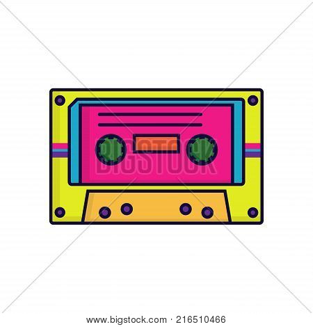 Retro audiocassette in 80's-90's trendy style. Vector illustration on white background in flat style