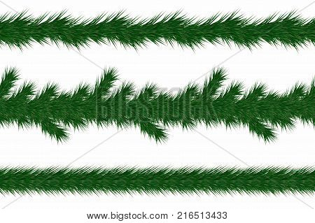 Christmas garland with fir branches. Set of green christmas tree branches borders isolated on white background. Holiday background. Vector