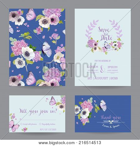 Wedding invitation vector photo free trial bigstock wedding invitation template set botanical card with hydrangea flowers and butterflies greeting floral postcard stopboris Choice Image