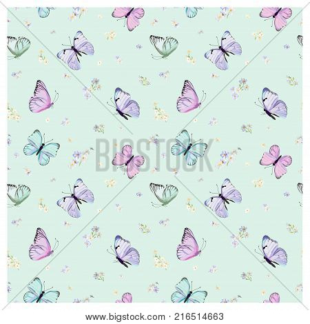 Seamless Pattern with Flying Butterflies and Pansy Flowers in Watercolor Style. Beauty in Nature. Background for Fabric, Textile, Print and Invitation. Vector illustration