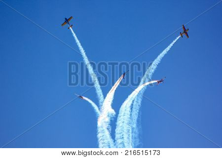 Airplanes fly in the sky. Air Show Airport Moldova Chisinau 30.09.2017