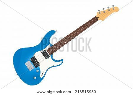 Electric Bass Guitar 3D rendering isolated on white background