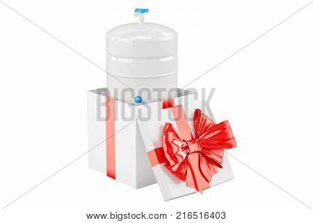 Gallon storage tank from reverse osmosis system inside gift box gift concept. 3D rendering